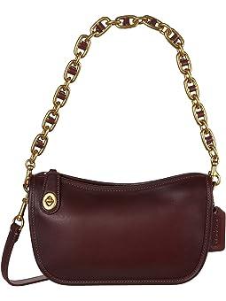 코치 크로스바디백 COACH Originals Glovetanned Leather Swinger with Chain,Wine