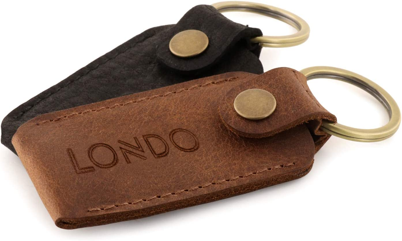 Londo Genuine Leather Case with Keyring for Ledger Nano S Bitcoin Wallet Unisex (Black) (Model: OTTO278)