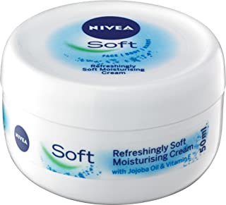 NIVEA Refreshingly Soft Moisturising Cream Lotion for Face, Body & Hands. With Jojoba Oil & Vitamin E and Suitable for all Skin Types, 50 ml