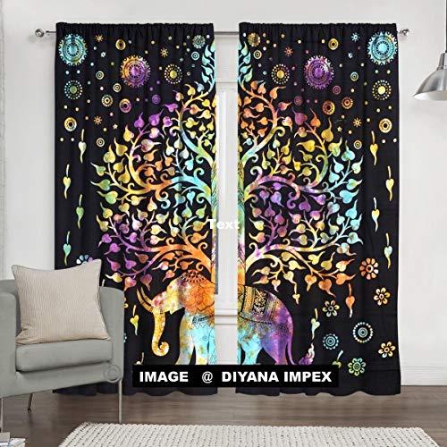 DIYANA IMPEX Indian Mandala Curtain Kitchen Window Curtains Curtain & Valance Set Dorm Tapestry,Indian Drape Balcony Room Decor Curtain Boho Set Hippie Curtain Panel (Multi Tol)