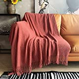 LOMAO Knitted Throw Blanket with Tassels Bubble Textured Soft Blanket Lightweight Throws for Couch Cover Home Decor (Red Mud, 50x60)