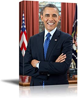 Portrait of President Barack Obama - Inspirational Famous People Series | Giclee Print Canvas Wall Art. Ready to Hang - 16