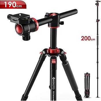 GEEKOTO Kamerastativ, 2-in-1 Stativ für Canon Nikon Sony DSLR-Kamera, 190cm Aluminiumlegierung Stativ mit Horizontaler Mittelsäule und 360°Panoramakugelkopf