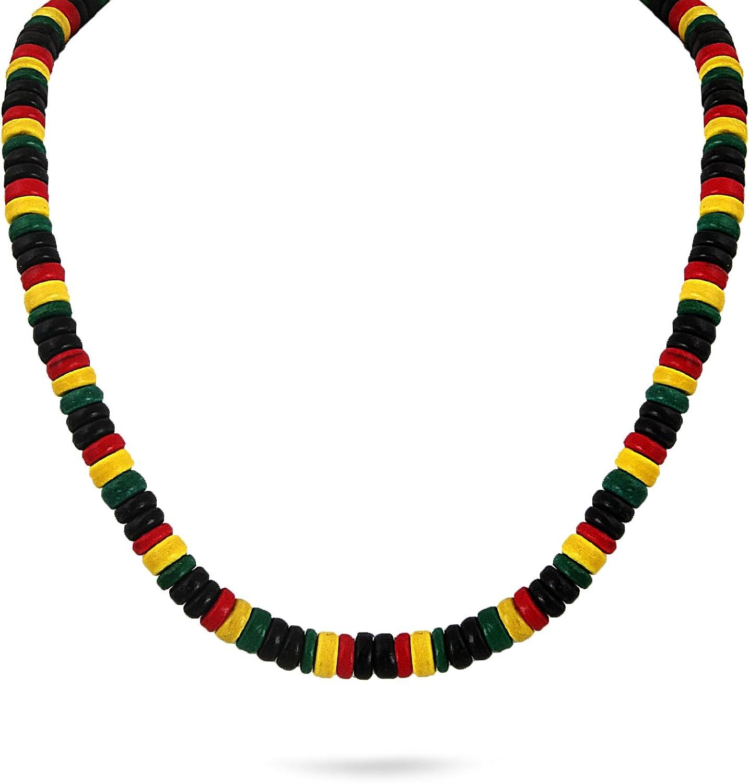 JewelryVolt Hand-Crafted Wood Bead Black Rasta Color Necklace, Barrel Lock