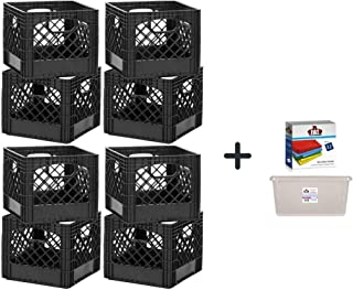 BUDDEEZ Milk Crates, 16-Quart, Black, 8-Pack + a Dozen of Cleaning Clothes with Clear Storage by Fat House Distributors