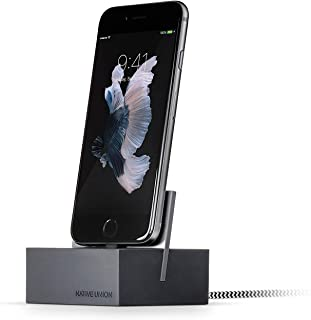 Flyme Dock+ Weighted Charging Dock with [Apple MFi Certified] Reinforced Lightning Cable for iPhone/iPad (Slate)