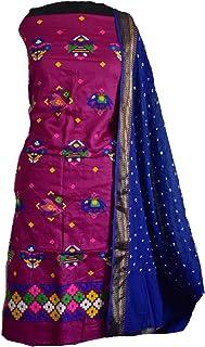 KATHIWALAS Women's Cotton Silk Kutch Work Bandhani/Bandhej Unstitched Dress Material Suit (MAGANTA BLUE, Free Size)