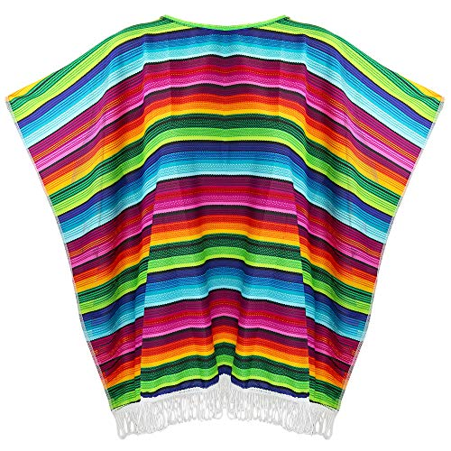 Skeleteen Mexican Serape Poncho Costume - Cinco De Mayo Mexican Fiesta Ponchos for Adults and Kids