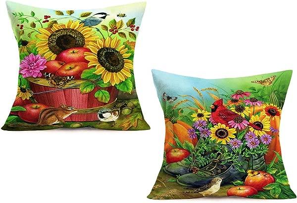 Doitely 2 Pcs Autumn Harvest Pillow Cases Cotton Linen Rustic Country Pumpkin Apple Sunflower Daisy With Cute Animals Farmhouse Garden Decorative Pillow Covers 18 X18