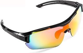 CrazyFire - Gafas de Sol Deportivas,CrazyFire UV 400 Protección Gafas Deportivas Polarizadas con 5 Set De Lentes Intercambiables para Hombre Mujer