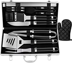 ROMANTICIST 21pc Stainless Steel BBQ Grill Tool Set - Perfect BBQ Gift for Men Dad on Fathers Day - Complete Outdoor Barbecue Grilling Accessories Kit in Aluminum Storage Case