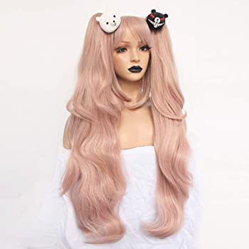 Anogol Hair + { 2 Bears } Light Pink Cosplay Wig Long Synthetic Wig For Girls Costume Party Costume Party Halloween W...