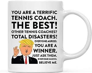 Andaz Press 11oz. Funny President Trump Coffee Mug Gag Gift, Tennis Coach, 1-Pack, Includes Gift Box, Christmas Birthday Graduation Gift Ideas