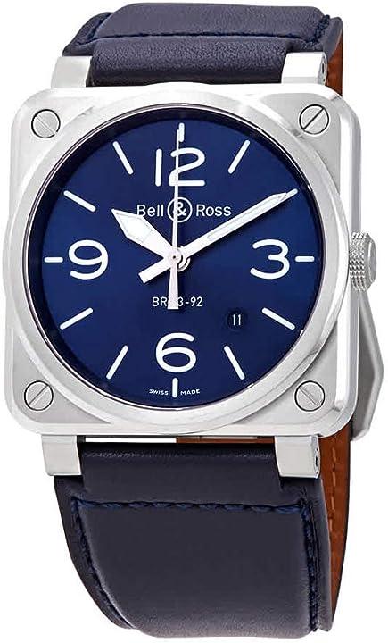 Orologio - bell & ross instruments br0392-blu-st/sca - orologio da uomo in acciaio blu