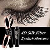 Angmile 4D - Máscara de pestañas de fibra de seda, extensible de maquillaje, color negro, impermeable, de larga duración, no se empaña, curling natural, kit de maquillaje (1 pieza)