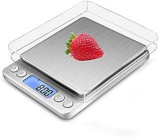Báscula Digital con dos Plato Removibles para Cocina de Alta Medición Precisa, Balanza Electrónica Digital para Cocina (0.1-3kg, Incluye dos baterías AAA)