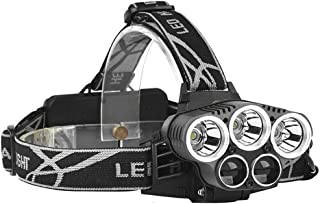 Rechargeable headlamp, 5 LED 6 Modes 18650 USB Rechargeable Waterproof Flashlight Head Lights for Camping, Hiking, Outdoors