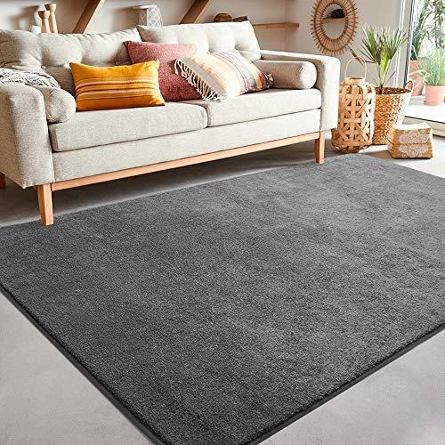 Color&Geometry Teppich Läufer, 120x160cm Weich Teppiche für Schlafzimmer Bettvorleger Esszimmer, Teppiche Wohnzimmer Bodenmatte rutschfeste Unterseite (Dunkelgrau)