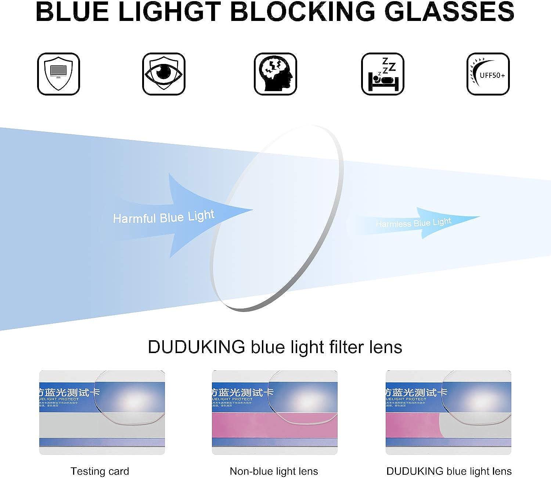 DUDUKING Gafas Luz Azul Gafas Filtro Antifatiga Anti-luz Azul y contra UV400 Ordenador Gaming PC de Gafas Montura de Metal Moda para Mujer y Hombre