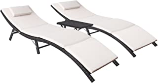 Flamaker 3 Pieces Patio Chaise Lounge with Cushions Unadjustable Modern Outdoor Furniture Set PE Wicker Rattan Backrest Lo...
