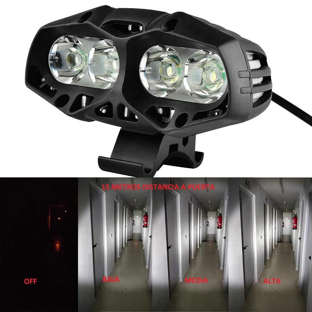Nabowei Luz de Bici, Luz Potente LED Faro Bicicleta Carga USB 6 ...