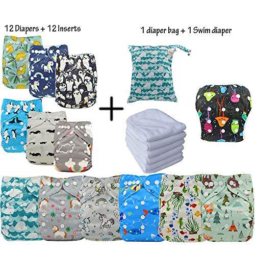 Waschbar Windel Babywindeln Stoffwindeln Schließungt wiederverwendbar, inkl. 4 Einlagen, 4 Stück (12Pcs01)