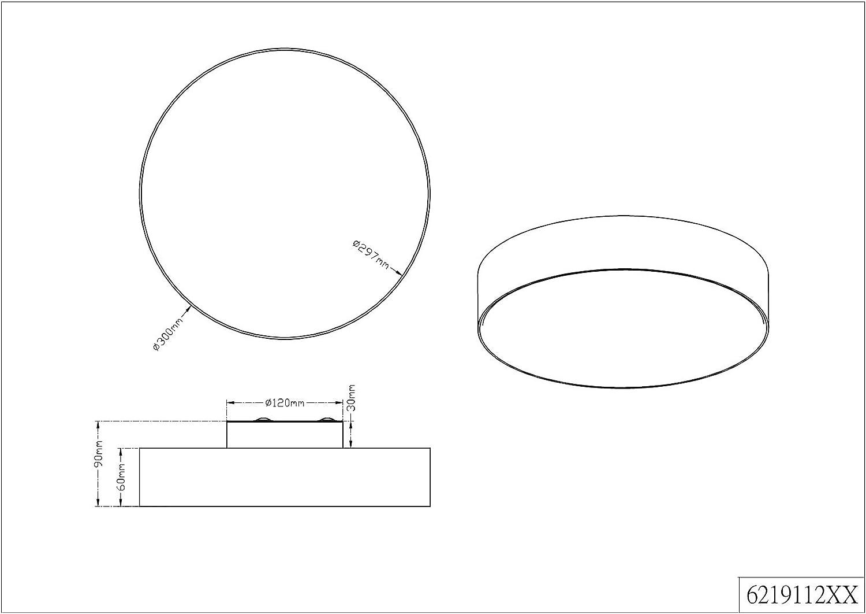 Trio Leuchten 621912411 Lugano A+, LED Deckenleuchte, nickel, 22 watts, Integriert, Stoffschirm Grau, mit Switch-Dimmer,40 x 40 x 10.5 cm Deckenleuchte 30cm Grau