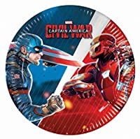 (Small Plates) - 20cm Captain America Civil War Party Plates, Pack of 8
