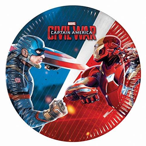 Unique Party 72236 - Platos para fiestas de guerra civil de Capitán América, 20 cm, paquete de 8