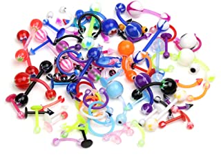 CrazyPiercing Wholesale 80 Flexible Lip Tongue Eyebrow Bar Rings Barbell Piercing Body Jewelry Multicolor