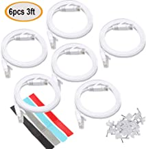 Relper-Lineso 6Pcs Cat 6 Ethernet Cable 3ft White - Flat Internet Network LAN Patch Cords – Solid Cat6 High Speed Computer Wire with Clips& Cable Ties Rj45 Connectors - 3 feet (3FT 6Pack White)