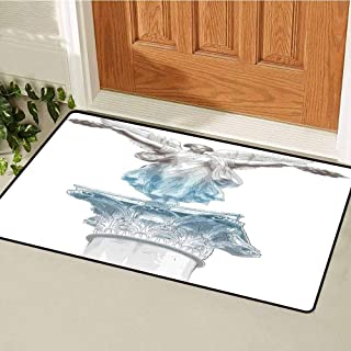 RelaxBear Toga Party Inlet Outdoor Door mat Antique Muse Statue Athens Hellenistic Period Mythological Monument Art Catch dust Snow and mud W29.5 x L39.4 Inch Light Blue Umber