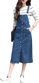 Yeokou Women's Midi Length Long Denim Jeans Jumpers Overall Pinafore Dress Skirt