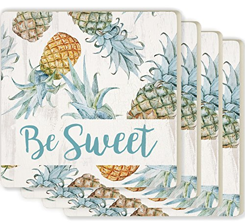 Be Sweet Pineapples White 4 x 4 Absorbent Ceramic Coasters Set of 4