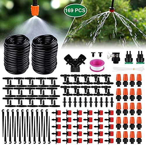 Emooqi 30 m bevattningsrör bevattningssats, droppbevattning 149 st. trädgård bevattningssystem DIY mikro-droppsystem automatisk sprinkler droppbevattning trädgårdsbevattning för växt-30 m