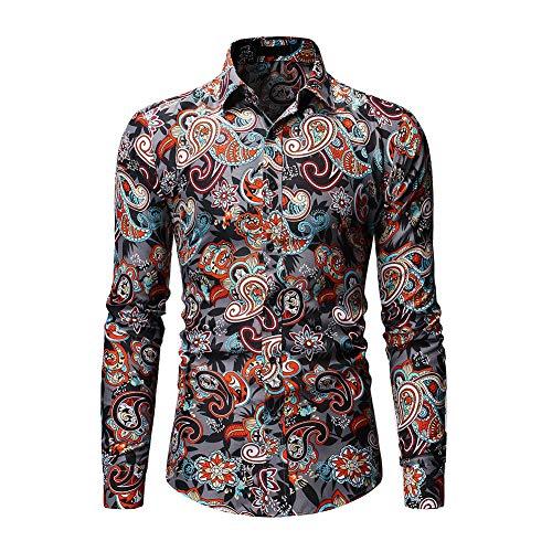 FZYQY Camisa para Hombre Casual Formales Clásico con Botones Camisas de Vestir Cuello de Manga Larga Traje/A/XXXL