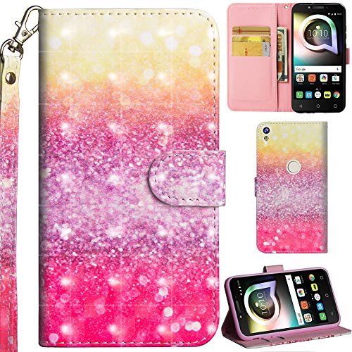 Ooboom Alcatel Shine lite 5080X Hülle 3D Flip PU Leder Schutzhülle Handy Tasche Hülle Cover Ständer mit Trageschlaufe Magnetverschluss für Alcatel Shine lite 5080X - Sand