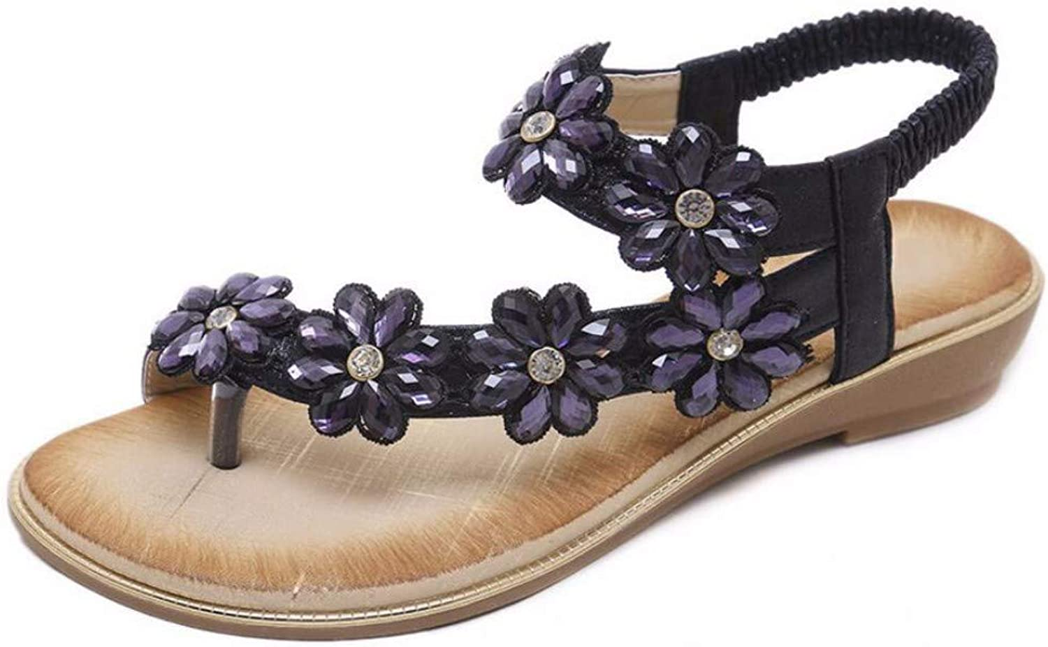 ZPSPZ sandals womens Ladies Sandals, Open Toes, Toes, Flowers, Water Drills, Bohemian Large Comfortable Flat shoes, Beach shoes