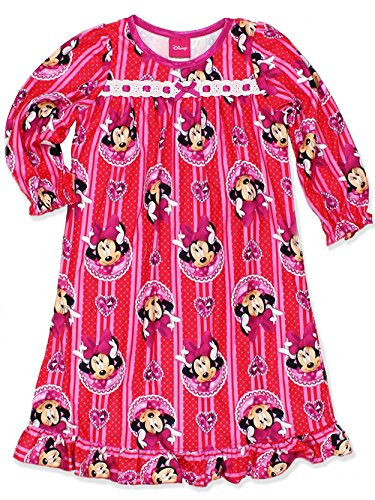 Minnie Mouse Little Girls Flannel Granny Gown Nightgown (8, Jewel Red/Pink)