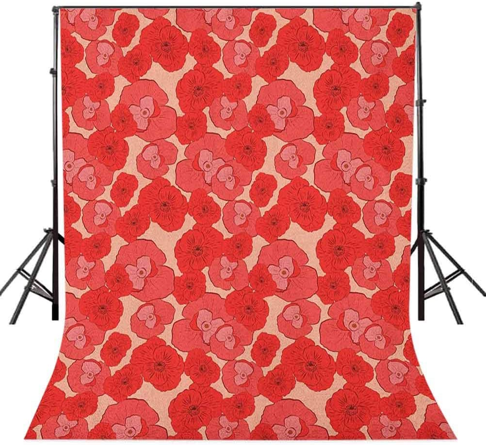 8x12 FT Leaf Vinyl Photography Background Backdrops,Floral Pattern with Poppies in Hand Painted Style Spring Nature Inspired Blossoms Background for Selfie Birthday Party Pictures Photo Booth Shoot