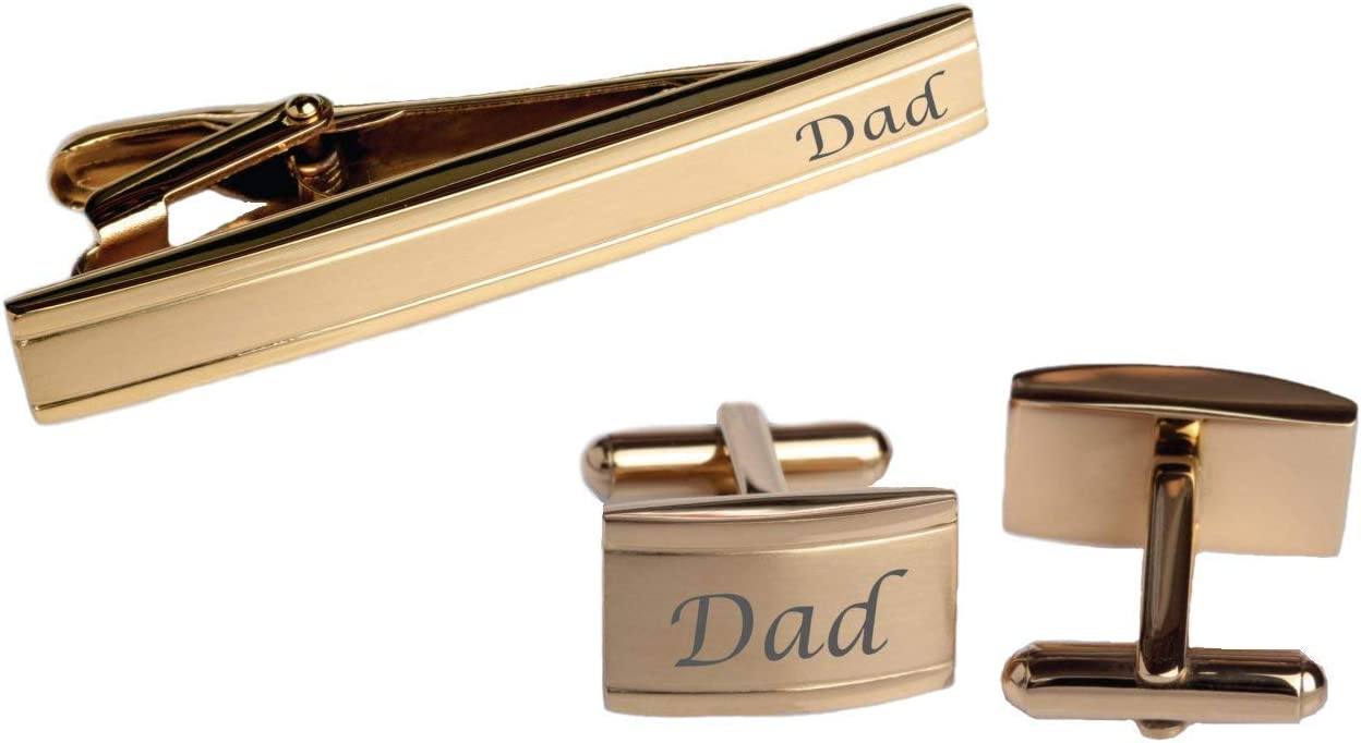 Personalized Gold Two Tone Cufflinks & Tie Clip Bar Set Custom Engraved Free - Ships from USA