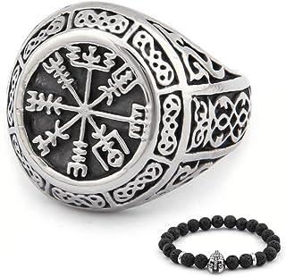 BaviPower فايكينج Vegvisir Norse Compass Norse Pattern Ring الفولاذ المقاوم للصدأ Asatru Pagan مجوهرات اسكندنافية للرجال ا...