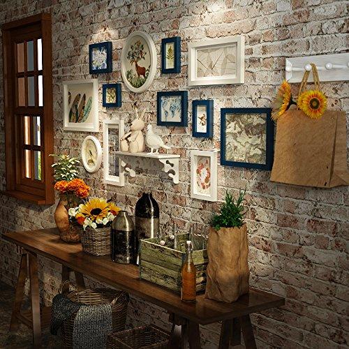 American Style bois massif à la dans le salon chambre intégré Étagère murale Restaurant photo créative photo rétro mural Combinaison. dassdie Bleu et Blanc Deux – Couleur