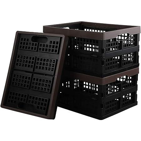 Dynko Plastique Caisse Pliante, Petite boîte de Rangement, Marron, Lot de 3