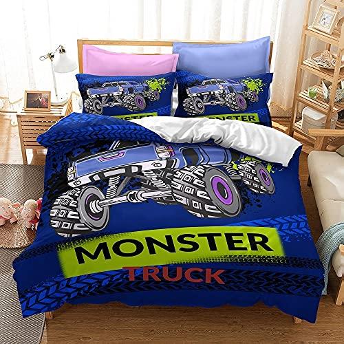 CXJC Cubierta de colcha de cama individual/doble + funda de almohada, cubierta de la colcha de decoración de la habitación de los niños, 3d Bigfoot Truck Impresión y teñido Patrón