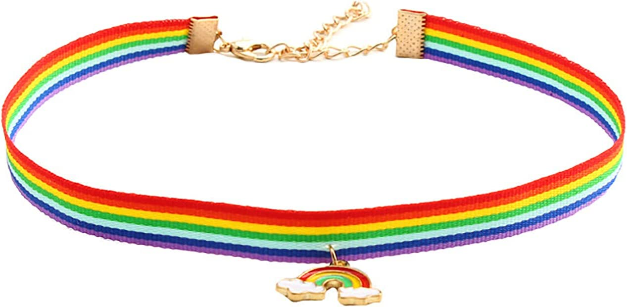wuxia Multicolor Polyester Tulle Choker Necklace Rainbow Pendnts Women Girls Wedding Party Club Collar Chains Jewelry,1PC (Metal Color : 1)