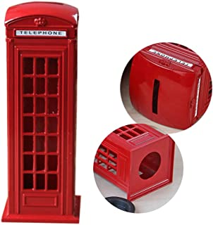 X Hot Popcorn 7 Inches Piggy Bank Alloy Street Red Telephone Booth Bank Box Souvenir Gift Model Box