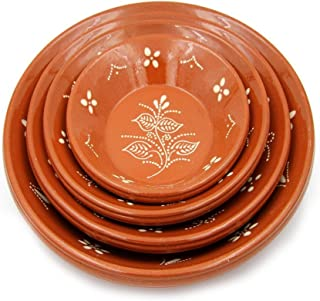 Portuguese Hand Painted Deep Terracotta Clay Serving Plate Ladeira Regional - Set of 2
