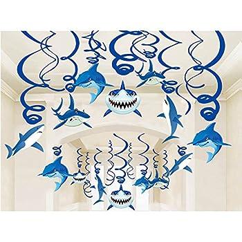 Shark Party Supplies Hanging Swirls Kids Birthday Decorations for Shark Sea Themed Splash Ceiling Foil Ornaments  30 PCS