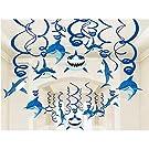 Shark Party Supplies Hanging Swirls Kids Birthday Decorations for Shark Sea Themed Splash Ceiling Foil Ornaments (30 PCS)